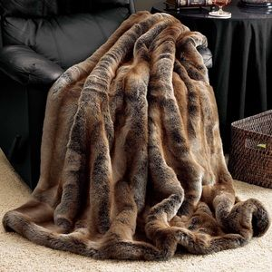 Luxurious Brown Faux Fur Throw